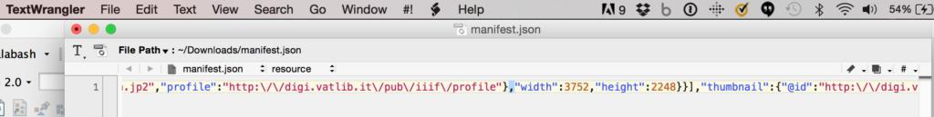 Manifest open in TextWrangler.