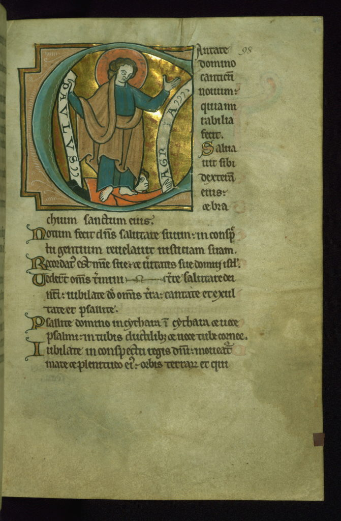 "Title: Initial ""C"" with St. Paul trampling Agrippa Form: Historiated initial ""C,"" 12 lines Text: Psalm 97 Comment: The inscriptions on the scrolls read ""Paulus/Agr[ipp]a."" The second inscription is partially obliterated."